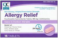 Generic Allegra Allergy Fexofenadine 180mg Antihistamine 15 Tablets per Box