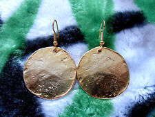 Kenneth Jay Lane Satin Gold Hammered Coin Fish Hook Pierced Earrings
