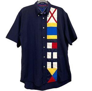 Vintage Tommy Hilfiger Sailing Shirt Sz M Yacht Boat Nautical S/S Nylon Y2K Mens
