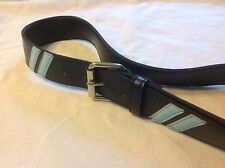 Navy blue belt with stripes, women's L, nice condition! Ships FREE!