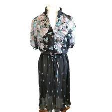 Vintage 80s Sheer Shirt Dress black Tagged 10 Fits 8 Cold shoulder Floral Roses