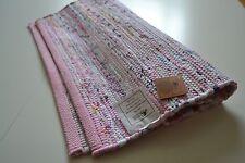 Pink Pastel Chindi Rag Rug Handmade Recycled Cotton 90x150cm 3x5ft Hemmed