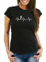 Damen T-Shirt Herzschlag Heartbeat Laufen Joggen Slim Fit Moonworks®