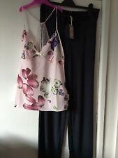 Ted Baker Pink Kensington Print Cami And Navy Jersey Bottoms Pyjama Set Size10