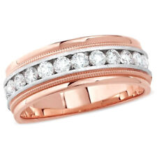 1 CT Round Real Diamond In 14k Solid Rose Gold Milgrain Men's Wedding Band Ring