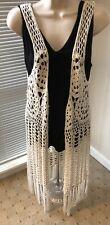 Mahina Crochet Ivory Vest With Fringe Large