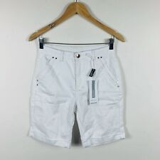 Rockmans Womens Denim Shorts Size 8 White Stretch Comfort Waist New With Tags
