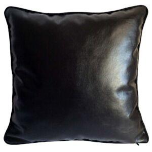 "Faux Leather Modern Black 18""x18"" Decorative Couch Sofa Pillowcase/Cushion Cover"