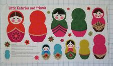 LITTLE KATERINA AND FRIENDS Nesting Russian Dolls Folk Art Fabric Panel  C8219