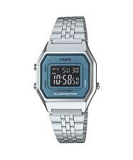 LA680WA-2B Silver Blue Casio Stainless Steel Watch Lady Stopwatch Alarm Digital