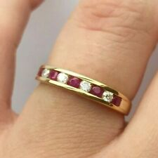 9ct Yellow Gold Ruby & Diamond Channel Set Half Eternity Ring Size K