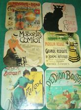 French Character Coasters Set of 6