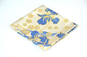 Lord R Colton Masterworks Pocket Square - Gold Blue Aftermath Silk - $75 Retail