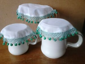 Hand-Made Milk Jug Covers Set - 1 Large & 2 Small. Pale Green With  Beads.