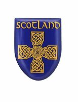 Scottish Blue Celtic Cross Scotland Metal Shield Pin Badge Lapel