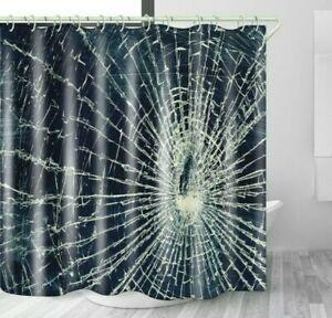 Broken Glass Cloth Shower Curtain Set Waterproof Bathroom Decor with Hooks