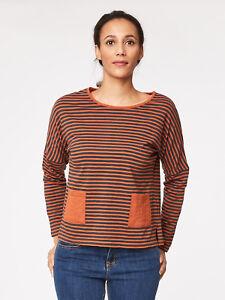 SALE Black Orange Brown Stripe Organic Cotton Long Sleeve Jersey Top CLEARANCE