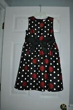 Girls Crazy 8 Black Polka Dot, Red Floral Lined Super Cute Dress~Sz 10~GUC