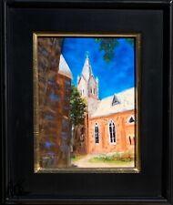 painting Fredericksburg Texas St. Mary's church original oil fine art