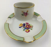 "Vintage Cigarette Holder and Ashtray Set - Porcelain China With Gold Trim -4"""