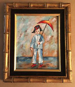 Vintage Enamel on Copper Asian Boy / Girl / Umbrella Textured Signed S. Richard