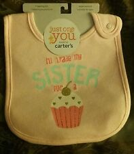 """NEW Carter's Just One You """"I'll Trade My Sister For A Cupcake"""" Baby Girl Bib"""