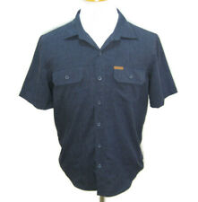 ORVIS Men's (Size Medium) Solid Blue Short Sleeve Button Front Camping Shirt Top