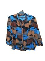 UNBRANDED SHIRT SIZE M GEOMETRIC MULTICOLOR POLYESTER 3/4 SLEEVE V NECK #12A