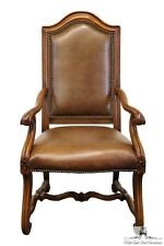 AMERICAN DREW Tuscan Style Leather Arm Dining Chair