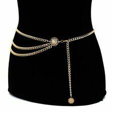Women Lady Fashion Waist Chain Belt Metal Gold Dress Waistband Narrow Chain Belt
