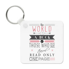 The World Is A Book Quote Keyring Key Chain - Inspirational Travel Holiday