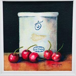 "Five Cheeries Watercolor Carol Cymbor 6"" x 6"" Crock No 5 Still Life Cottage Core"