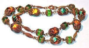 Edwardian Art Deco amber & turquoise blue foil glass bead necklace original box