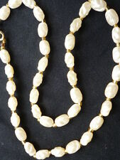 Unique Irregular Twisted Shape Cream Pearl Style and Gold Spacers Necklace
