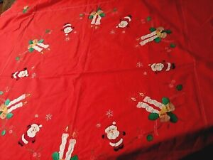 "62"" Round Christmas Santa Applique Embroidered Tablecloth"
