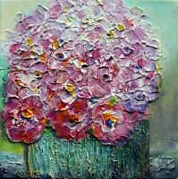 Pink Flowers Bouquet Spring Roses Flower in a Pot Impasto Oil Original Painting