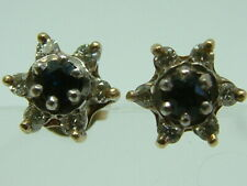 PRETTY 9CT YELLOW GOLD SAPHIRE DIAMONDS CLUSTER STUD EARRINGS