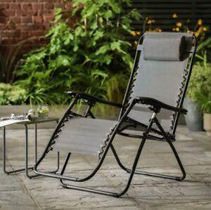 Zero Gravity Metal Sun Lounger - Grey: Next Day (Reclining Garden Deck Chair
