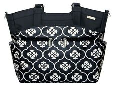 JJ Cole Camber Baby Diaper Bag Tote Black Floret w/ Changing Pad Stroller Straps