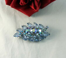 Vintage Sparkling Blue Aroura Borealis Rhinestone Pin Brooch Cat Rescue