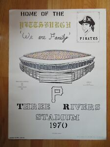 National Pastime 1970 THREE RIVERS STADIUM Home of PITTSBURGH PIRATES Poster