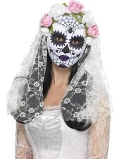 Day of the Dead Bride Mask, Full Face, Cosmetics and Disguises, WHITE #AU