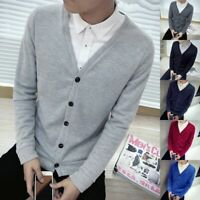 Solid Men's V-Neck Knitted Sweater Coat Outwear Cardigan Jacket Pullover Tops
