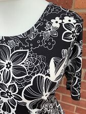 Pure & Natural Black White Floral Stretchy Short Sleeve Top Ladies Blouse XL A1