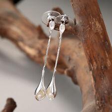 925 Silver Wedding Jewelry Dangle Pearl Earrings Women Elegant Long Earrings