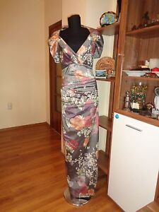 TALBOT RUNHOF PRET GORGEOUS SILK BLEND MULTICOLOR FLORAL RUCHED DRAPED GOWN-12UK