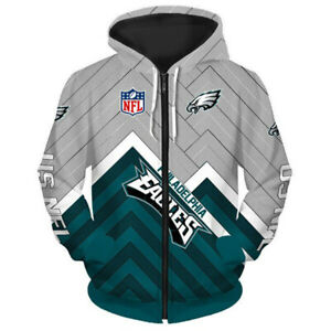 Philadelphia Eagles Hoodie Football Zipper Sweatshirt Casual Hooded Sport Jacket