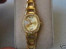 Q&Q by Citizen Gold Tone Lady Dress Watch w/Diamond Bezel
