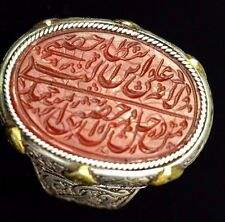 Seljuk antique Carnelian Seal calligraph Sterling Silver Ring Gold Overlead