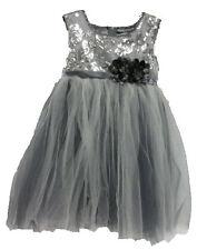 NWT Popatu Girl's Tutu Special Occasion Dress w/ Sequins Silver Gray - Size 4T/4